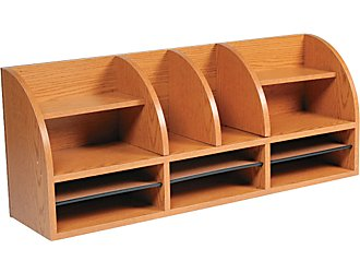 Safco_12-compartment_radius_front_desktop_organizer_medium_oak