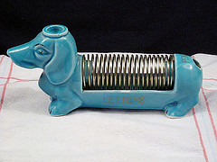 Vintage_aqua_daschund_dog_ceramic_letter_holder_desk_organizer_by_vintagegoodness